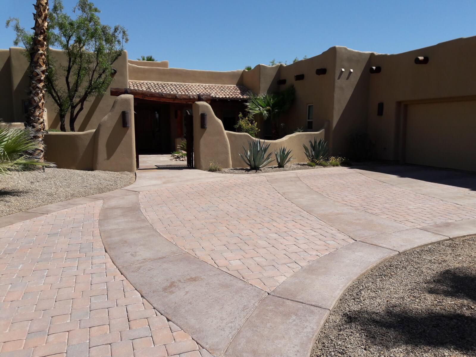 Driveway paver coating before