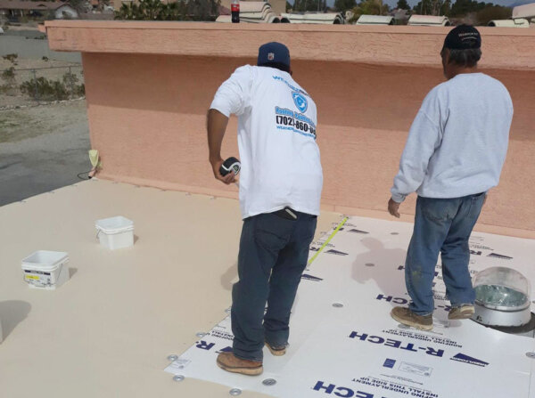 flat roof project in las vegas measuring